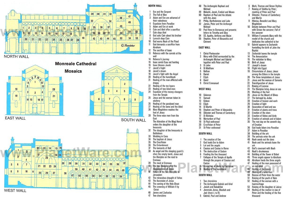 Mosaicos de la catedral de Monreale - Mapa de distribución