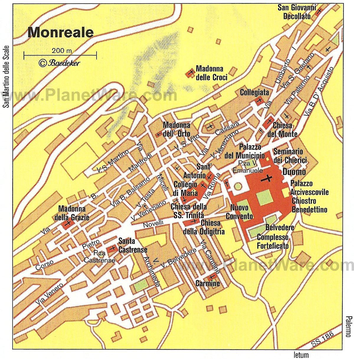 Mapa de Monreale - Atracciones turísticas