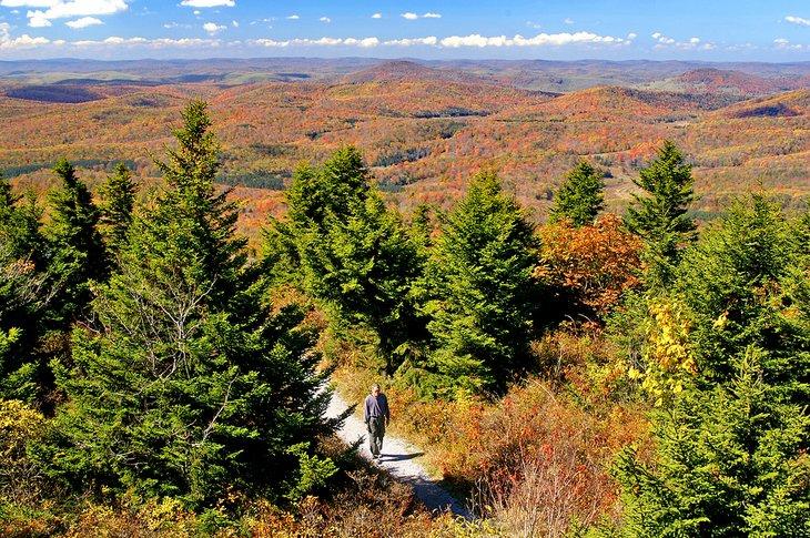 Caminante en West Virginia durante el otoño